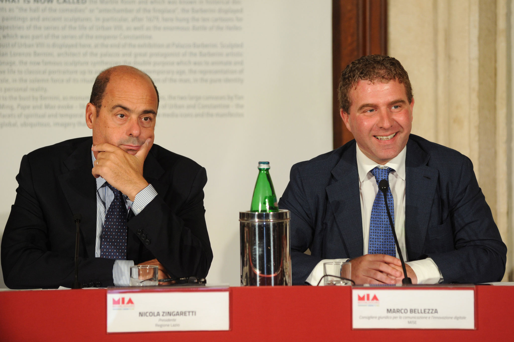 Nicola Zingaretti (Lazio Region President), Marco Bellezza (MISE Legal Counsel on Communication and Digital Innovation)