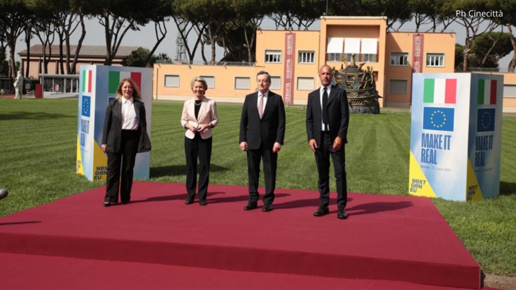 Mario Draghi and Ursula von der Leyen visiting Cinecittà.